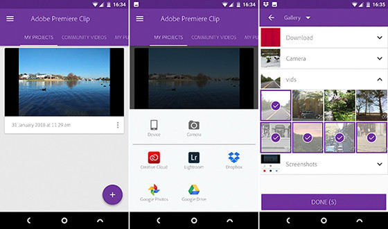 Adobe Premier Clip B2847 Android Video Editing Application