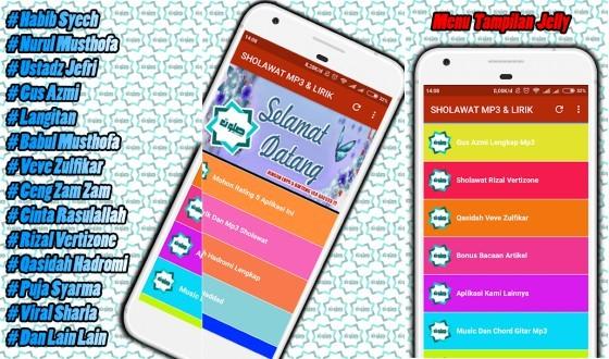 Application Offline Song Lyrics Sholawat Nabi Cacde